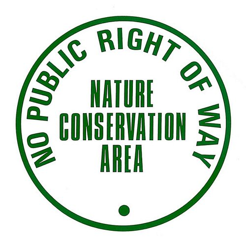 NATURE CONSERVATION NO PUBLIC RIGHT OF WAY SIGN